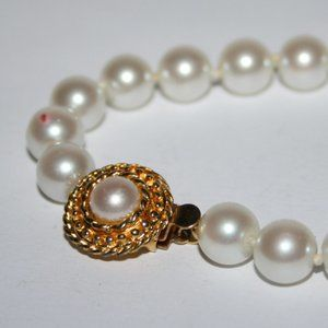 Vintage gold and pearl bracelet 7.5""